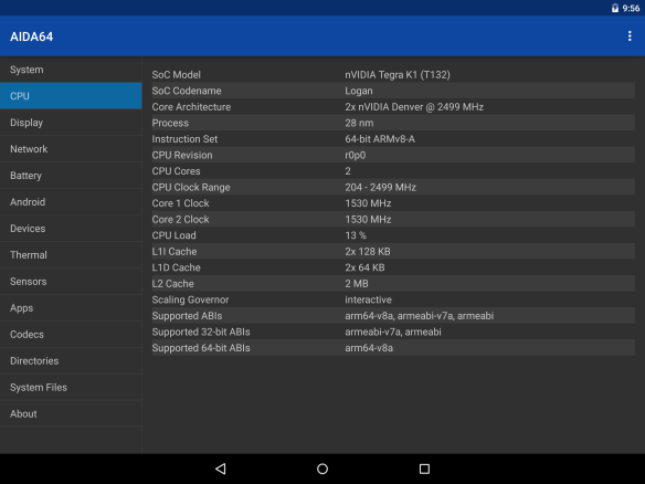 AIDA64 for Android Nexus 9 info