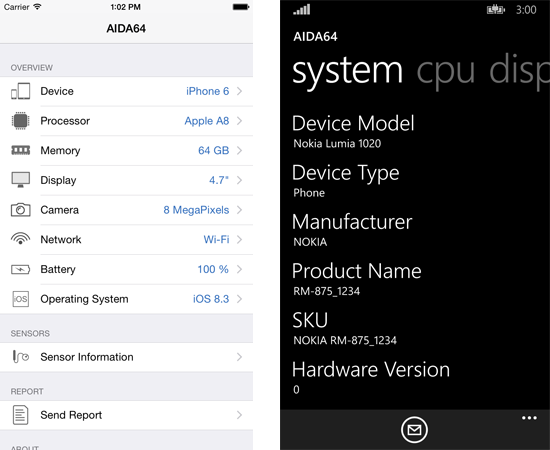 AIDA64 per iOS e Windows Phone