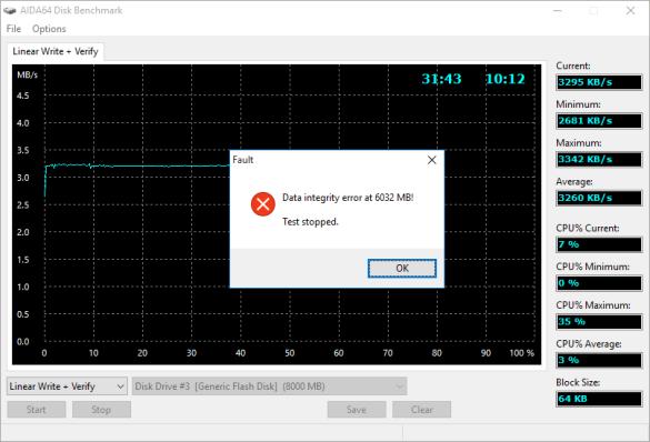 AIDA64 Disk Benchmark Linear Write